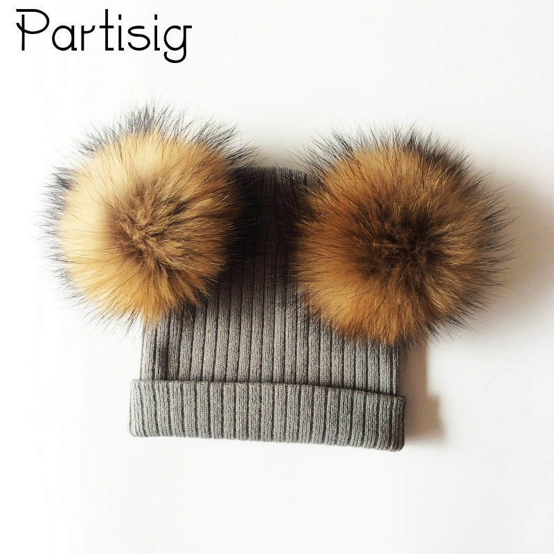 Baby Hat Natural Raccoon Fur Baby Cap Two Pompom Kids Caps Winter Children's Hats With Pompom autumn winter beanie fur hat knitted wool cap with silver fox fur pompom skullies caps ladies knit winter hats for women beanies page 6