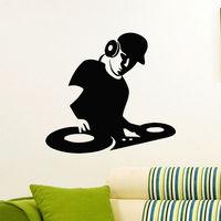 벽 데칼 비닐 스티커 전자 음악 헤드폰 DJ 장식