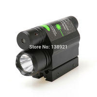 2 In 1 LED Flashlight Combo Tactical Flashlights Q5 LIGHT 200LM With Green Laser Sight For