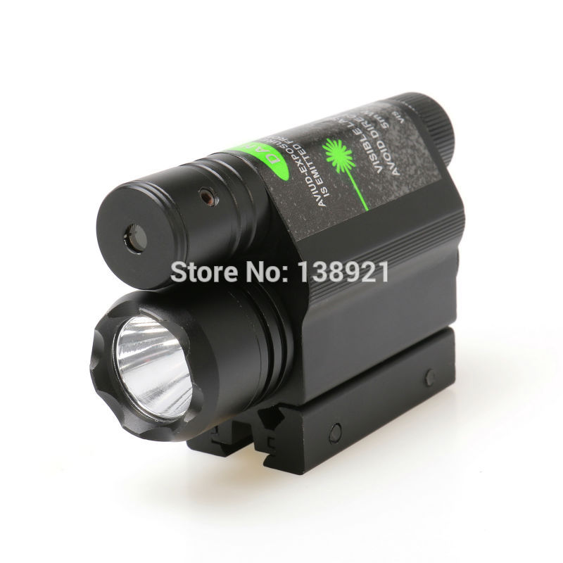 Lampes de poche tactiques combinées 2 en 1 lampe de poche LED Q5 lumière 200LM avec visée Laser verte pour pistolet/pistolet