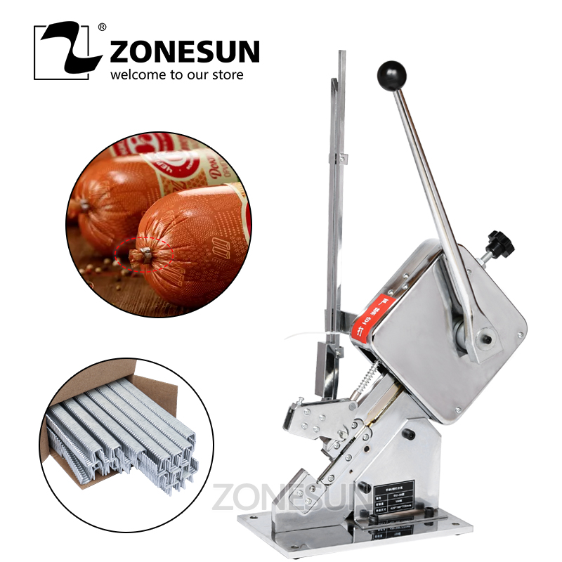 ZONESUN Clipping Machine Manual U-shape Sausage Clipper Maker Supermarket Tightening Machine with 1 box of U-shaped Buckles sausage making equipment u shape sausage clipping machine manual sausage clipper machine price