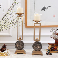 European Style New Classic Marble Base Alloy Gold Candlestick Model Room Living Room Bedroom Soft Decorations
