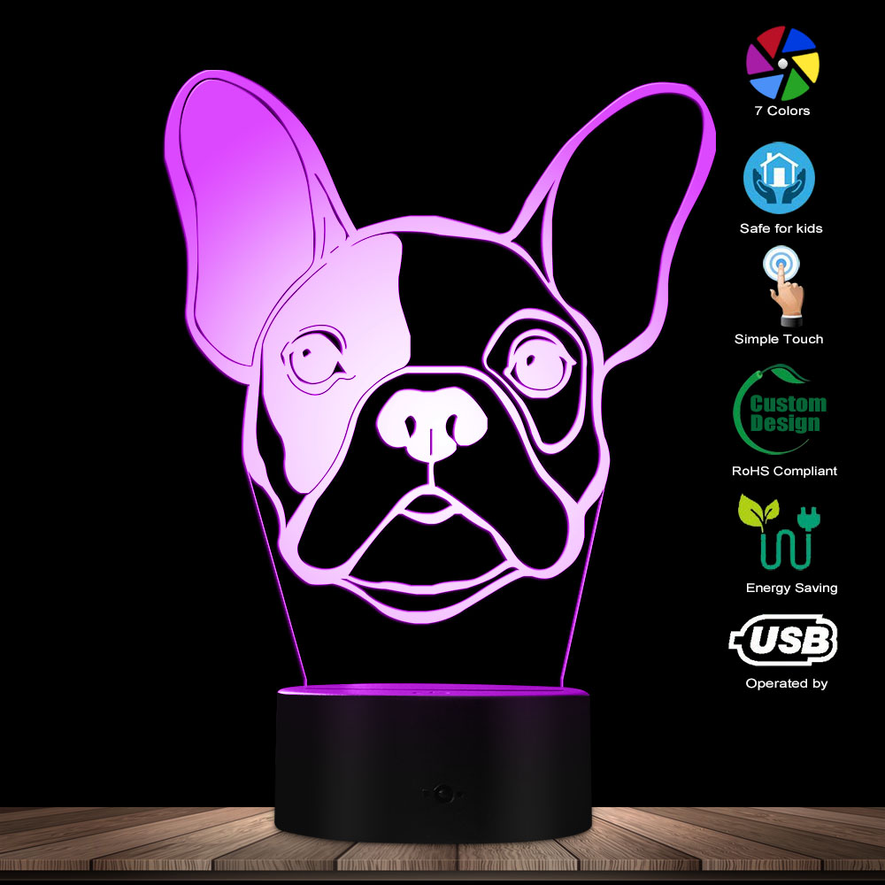3D French Bulldog Designed Visual Lamp Pet Puppy Pug Home Decor Table Lamp Dog Portrait Kid Room 3D LED Illusion Night Light