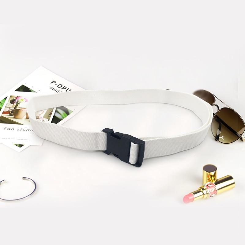 Модный черный холщовый ремень для женщин, повседневные женские поясные ремни с пластиковой пряжкой Harajuku, однотонные длинные ремни ceinture femme - Цвет: White