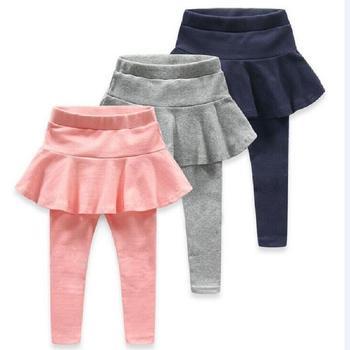 cd897a64e Leggins para niñas bebé niña primavera otoño mallas calientes falda- Pantalones pastel falda niños sólido media cintura elástica lápiz Delgado  pantalones