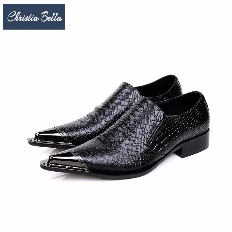Christia Bella Italian Wedding Party Men Shoes Black Genuine Leather Business Oxford Shoes Slip on Formal Men Dress Shoes