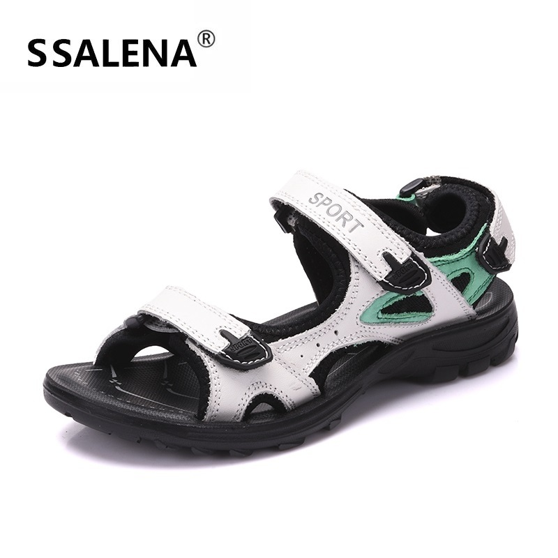 Leather Sport Sandals For Women Mesh Breathable Outdoor Beach Shoes Girls Fashion Open Toe Anti slip
