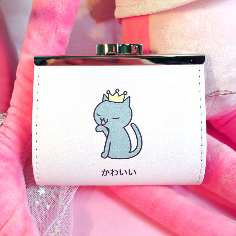 Cartoon Animals Cat Bear Money Bag Cute Coin Purse Mini Card Bags for Women Girls Short Fresh Buckle Student Key Case Pouch