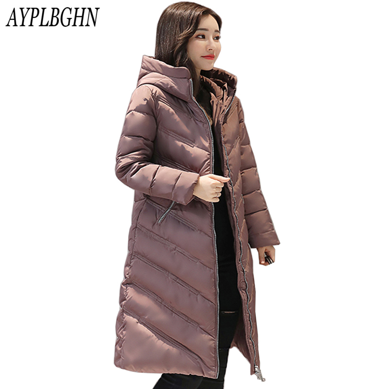 2017 Winter New Fashion Women's Down Jacket Hooded Cotton Long Fur Collar Slim Women Parkas Zipper Warm Ladies Outwear Parkas women winter fashion warm down jacket hooded cotton long fur collar slim women thick parkas coats zipper ladies outwear parkas