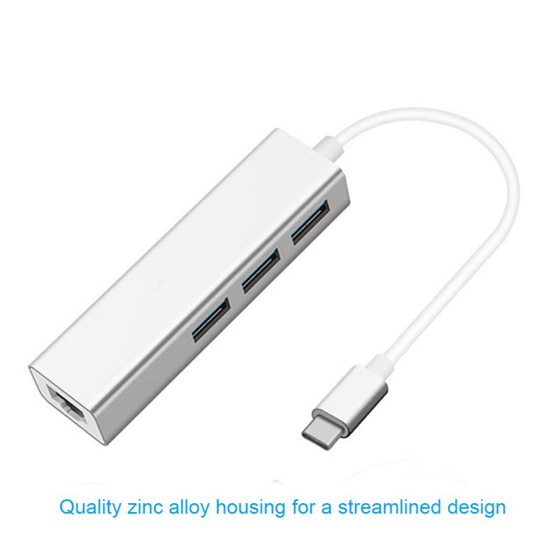 USB 3.0 Hub Type C to 3 Ports USB3.0 / RJ45 Jack Adapter HUB with Ethernet Adapter Cable RJ45 Gigabit Network for 10/100Mbps hot