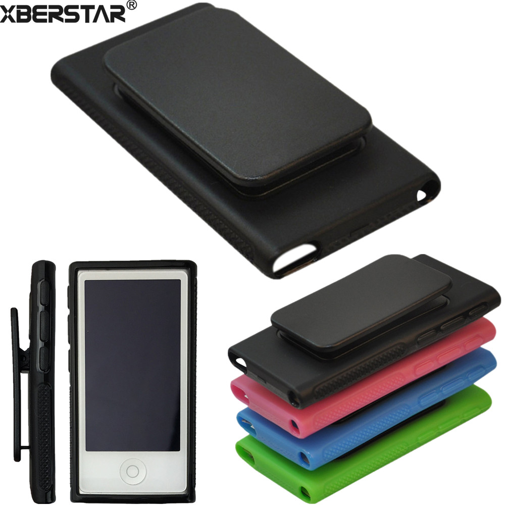 TPU Rubber Skin Case Cover with Belt Clip for iPod Nano 7th Gen 7 7G