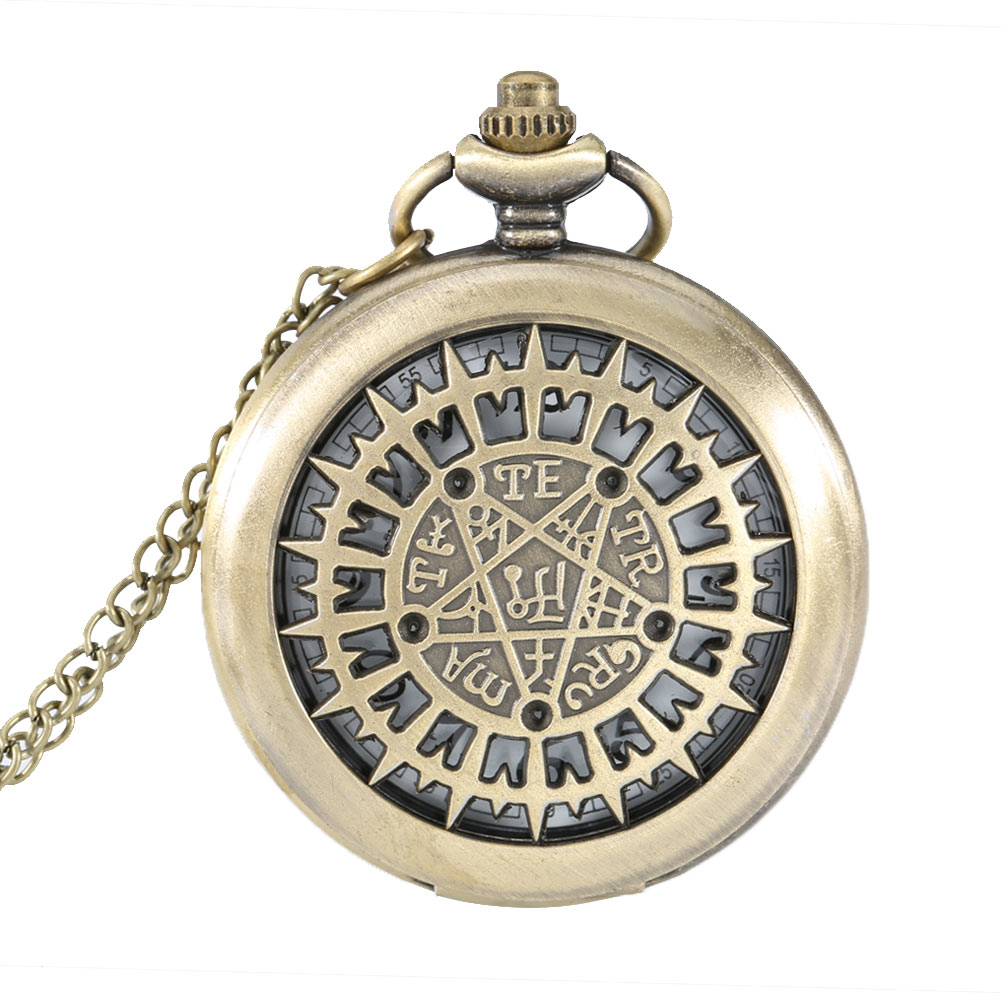 Fashion Pocket Watch Hollow Five pointed Star Compass Dial Quartz Watches Analog Pendant Necklace Chain Clock Gifts LL@17 2017 hot sell quartz pocket watch fob watches vintage hollow necklace pendant retro clock with chain gifts ll 17