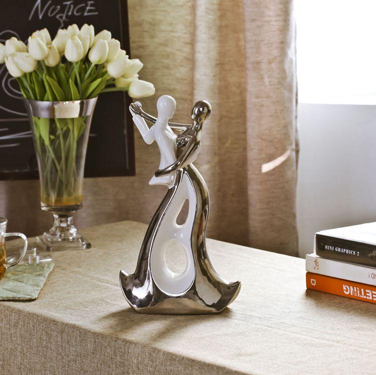 bílá stříbrná keramika milenci domácí výzdoba řemesla pokoj dekorace řemeslníci tanečnice ozdoba porcelánové figurky svatební dekorace