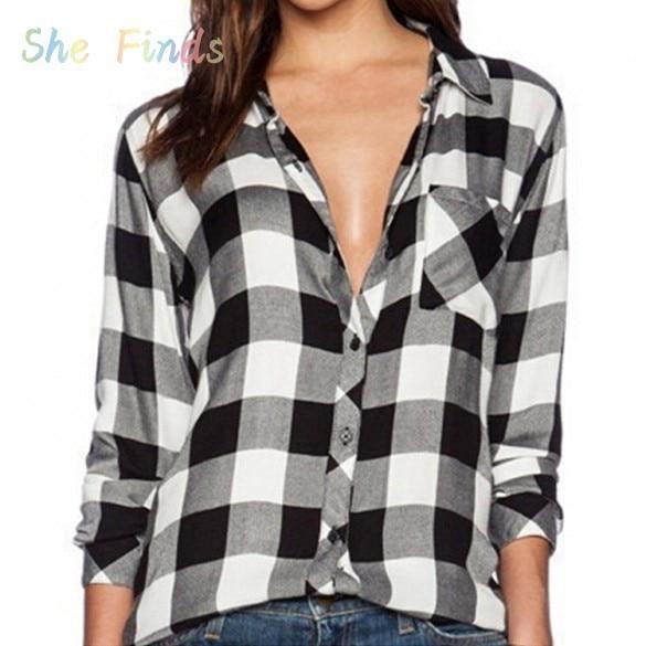 New Fashion Casual Plaid Shirt Women Loose Long Blouse Check Shirt ...