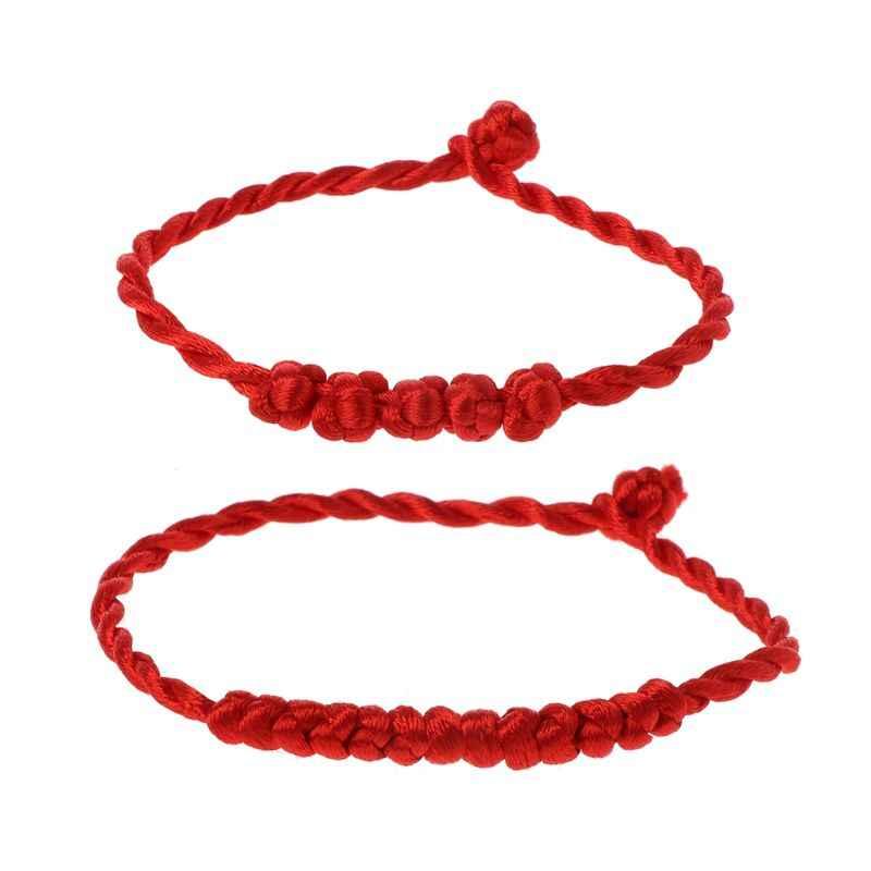 1 PC Fio Trançado Pulseira Moda Vermelho Pulseira Corda Vermelha Sorte Pulseira Corda Artesanal para As Mulheres Dos Homens do Amante de Jóias Casal