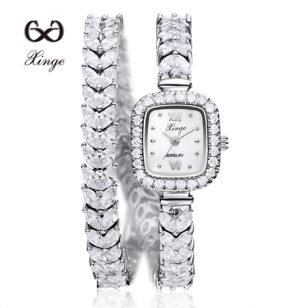 Xinge Luxury Silver Zircon Copper Bracelet Watches Women Ladies 30M Waterproof Wristwatches Gift Women Dress Watch XG1026 proberos minnow fishing lures wobbler crankbaits abs artificial hard baits for bass fishing tackle with hooks 3d printing pesca