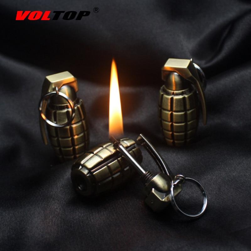 VOLTOP Kerosene Lighter Portachiavi Granata Modellazione Cigarette Lighter Portachiavi Partita Catena Chiave Creativa Militare Ciondolo Portachiavi