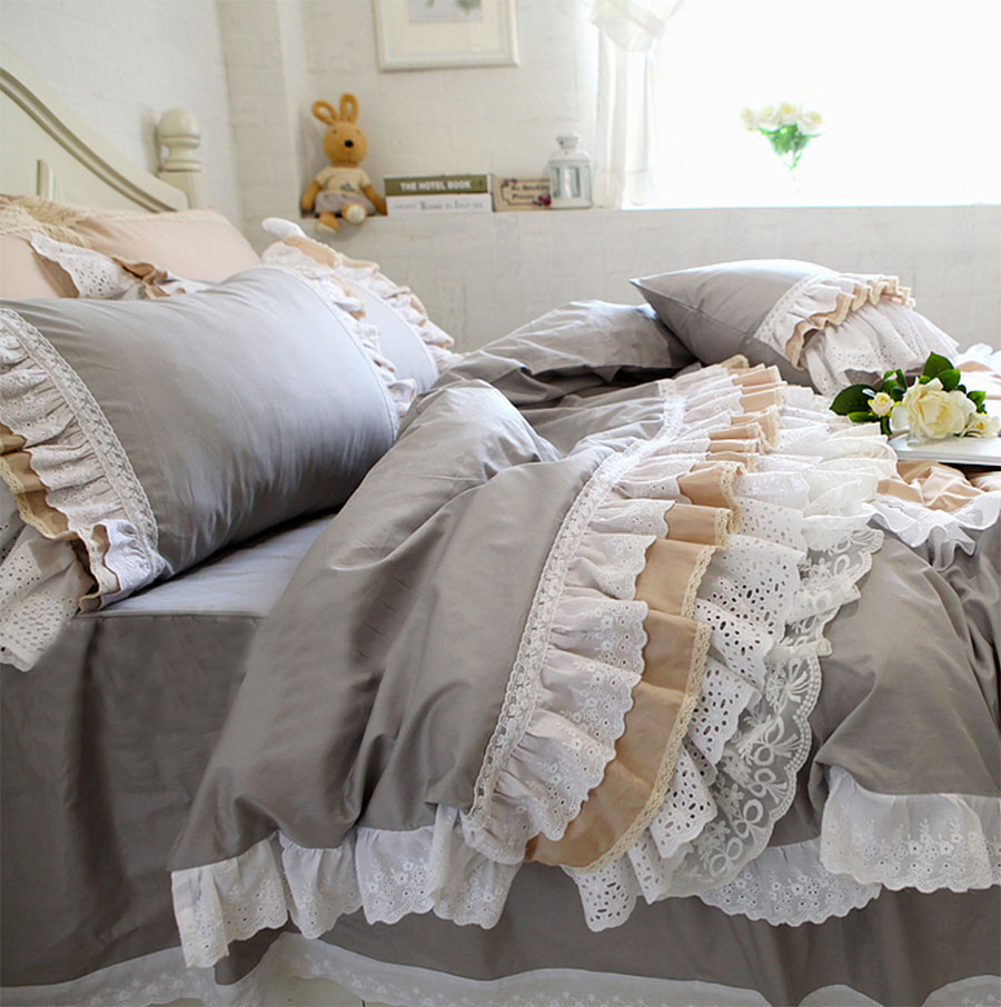 Luxury lace ruffled bedding sets adult teen girl,full queen king cotton fairyfair bedclothes bed dress pillow case duvet cover