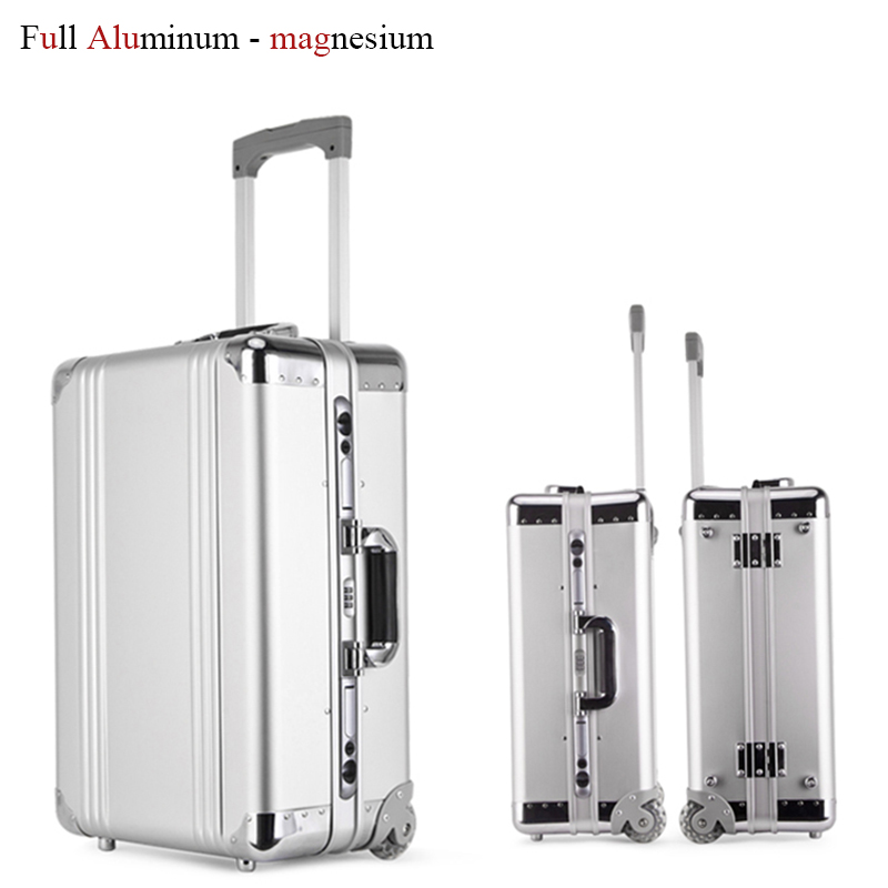 20 inch Rolling Luggage Bag Brand Full Metal Travel Suitcase Original Women Trolley Luggage Boarding Box Aluminum Carry On Bag travel aluminum blue dji mavic pro storage bag case box suitcase for drone battery remote controller accessories