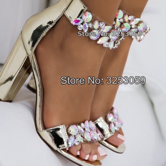 a8d101ac78dbca ALMUDENA Women Dazzle Colour Crystal Chunky Heel Sandals Bling Bling  Gradient Colorful Clear Jewelry Wedding Shoes Snakeskin
