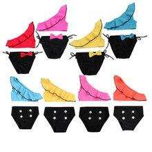 Фирменная Новинка для новорожденных, младенцев, детская разноцветная юбка-пачка для маленьких девочек; яркая галстук-бабочка в горошек комплект бикини, купальный костюм Одежда для купания купальник комплект