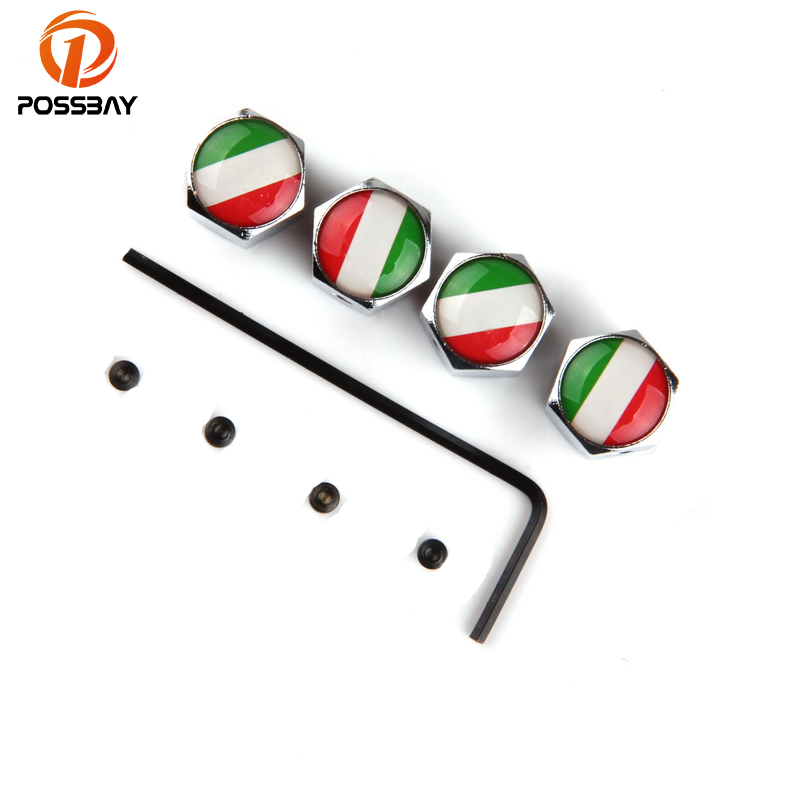 POSSBAY Italy National Flag Air Caps Theftproof Stainless Steel Car Wheel Tire Valves Tyre Silver Stem Airtight Cover Universal