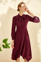 2019 New 100% Silk Vintage Solid Bow 1 Color 4 Size Women's Dresses