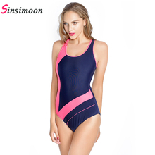 Faerdasi female patchwork training sports bathing suit one piece swimwear women sexy thong monokini racing bodysuit beachwear