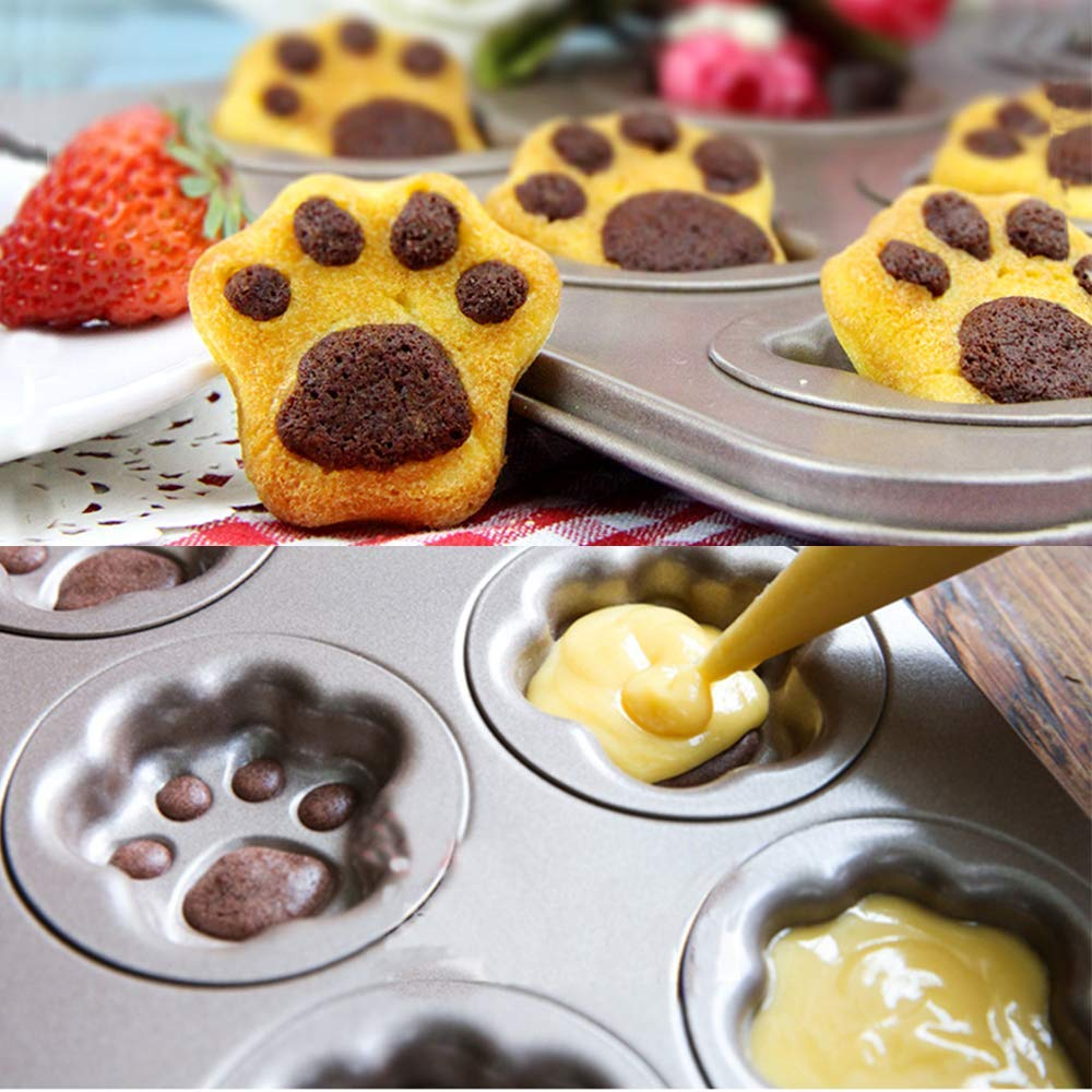 6-<font><b>Cup</b></font> <font><b>Cake</b></font> Mold Classic Nonstick Donut Cookie Bakeware Mold <font><b>Cat</b></font> Claw Heavy Carbon Steel <font><b>Cake</b></font> Fluted Baking Madeleine Pan image