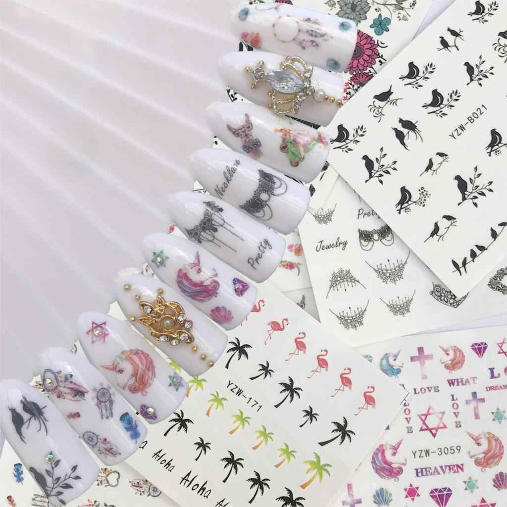 WUF Colorful Flower Coconut Tree Black Bird Nail Art Water Decals Transfer Stickers Cute Cartoon Nails Salon Sticker Decoration