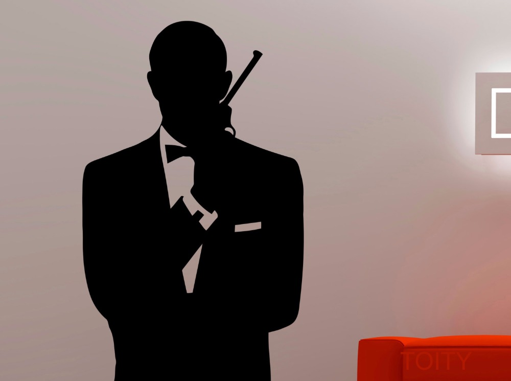 James Bond Silhouette Bust Wall Art Decal Retro 007 Vinyl Sticker Cool  Movie Poster Dorm Teen Room Home Interior Murals Decor In Wall Stickers  From Home ... Part 96