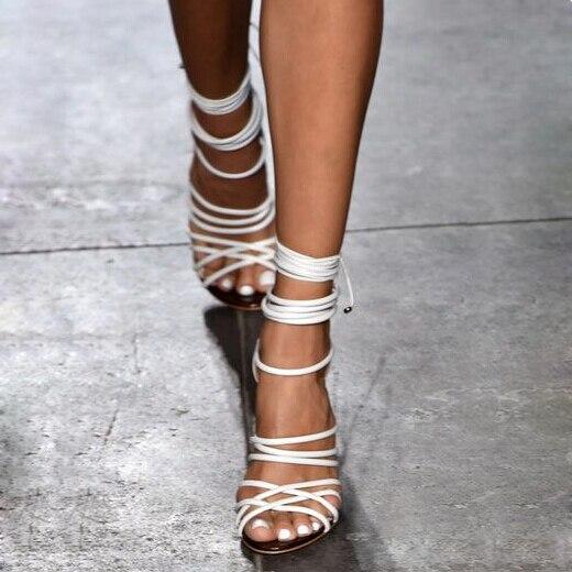 Hot selling solid color multi strap crisscross lace-up high heel sandals fashion ankle wrap back zipper stiletto heel sandals denim zipper hollow worn stiletto womens sandals