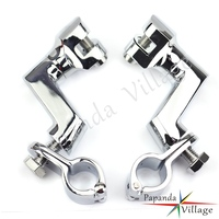 1 & 1 1/4 & 1 1/2 Chrome Engine Guard FootPeg Clamps Footrest Mount Clamps For Harley Bobber Chopper Cafe Racer ATV Scooter