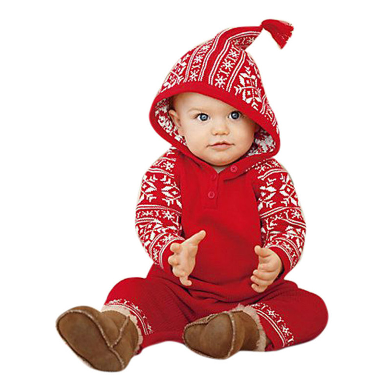Baby clothes 2018 FASHION Newborn Baby Girls Boy Christmas Hooded Printing Romper Jumpsuit Pajamas Outfits 2sw0811 цена