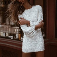 Sparkly Sequined Long Sleeves Black Cocktail Dress 219 Elegant White Mini Short Formal Party Dresses Bodycon Sheath Evening Gown