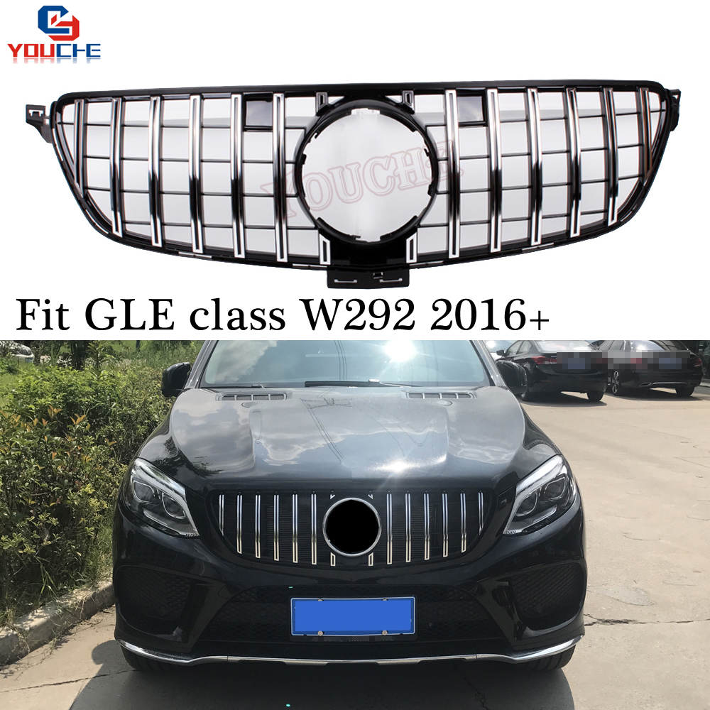 GT GTR Style Front Hood Grill for Mercedes W292 GLE Class Coupe C292 2016 2018 Black