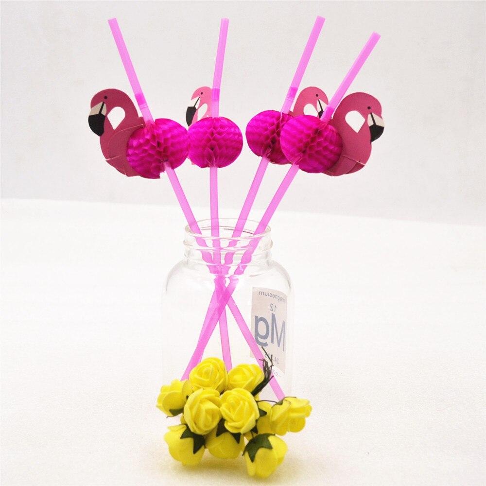 HOT 50pcs/ lot Lot Cute 3D Flamingo Straw Bendy Flexible Plastic Drinking Straws Kids Birthday/Wedding/Pool Party Decoration