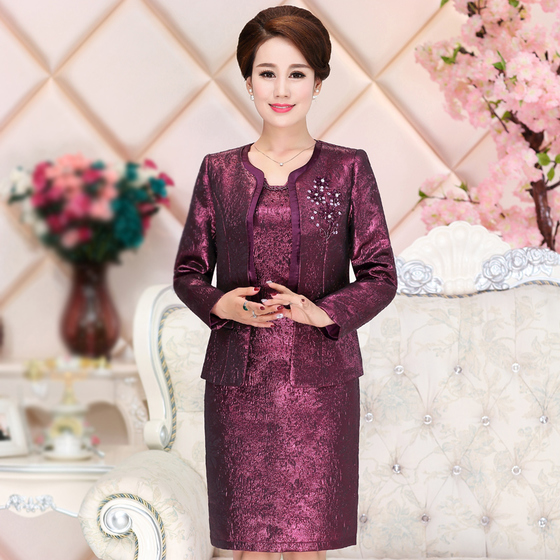 2 Pieces  High Quality New Fashion  Autumn Winter  Wedding Dress Suit Mother Mid Old Aged Women Clothing Plus Size Slim