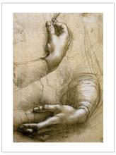 Canvas prints masterpiece reproduction Leonardo Da Vinci  hands Art Poster Print  mural painting home decoration art leonardo da vinci a treatise on painting by leonardo da vinci
