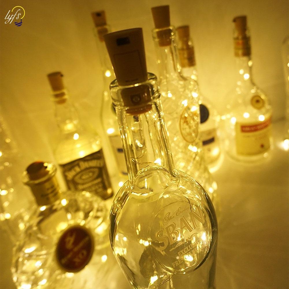 10pcs/lot Wine Bottle Cork Lights 15/20 LEDS Copper Wire String Lights For Bottle DIY, ADSION Christmas, Halloween, Wedding