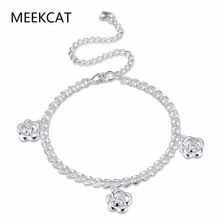 MEEKCAT Elegant Rose Flower Feet Chain Anklet 925 stamped silver plated Fashion Brand Jewelry For Women Wholesale Good quality