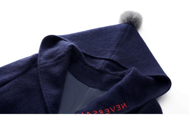 Vestes Manteaux Manteau En Blue Capuche Preppy Style Plus Taille Long Slim Femmes D'hiver Fdfklak Cachemire Laine La Femme De Occasionnel Veste HTxqFwA