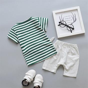 Newborn Cartoon Striped Clothes Suit for Baby Boys 2Pcs 2