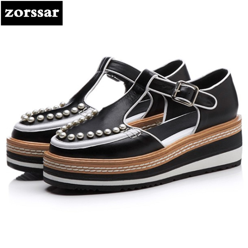 {Zorssar}2018 NEW Genuine Leather Fashion pearl casual Platform shoes women High heels sandals Wedges shoes pumps creepers shoes woman fashion high heels sandals women genuine leather buckle summer shoes brand new wedges casual platform sandal gold silver