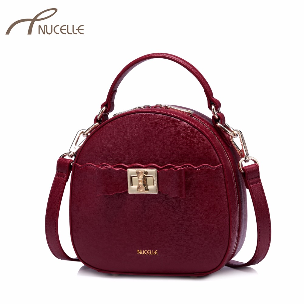 NUCELLE Women's PU Leather Handbags Ladies Fashion Bow Lock Messenger Tote Purse Female Leisure Mini Shell Crossbody Bags