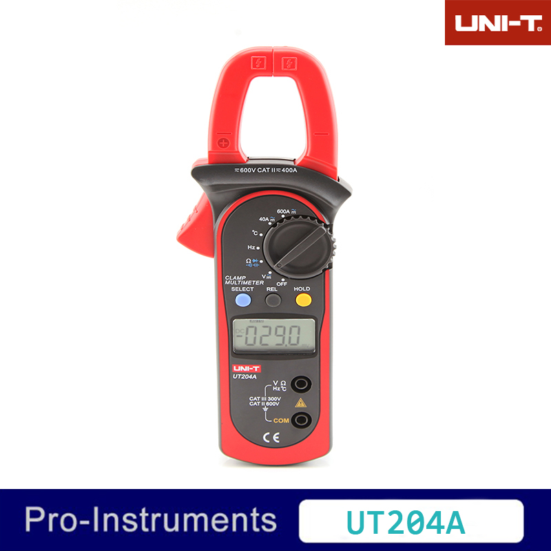 UNI-T UT204A Digital Clamp Meter Voltage AC DC Temperature Capacitor 600A Current Diode Auto Range Multimeter staring capacitor cd60 100uf 250v ac 50 60hz 40 70 temperature 21