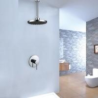 Vidric Solid Brass black/Chrome Bathroom Concealed Shower set 8 Rainfall Shower Head Shower Arm Set Shower Diverter Mixer Valve