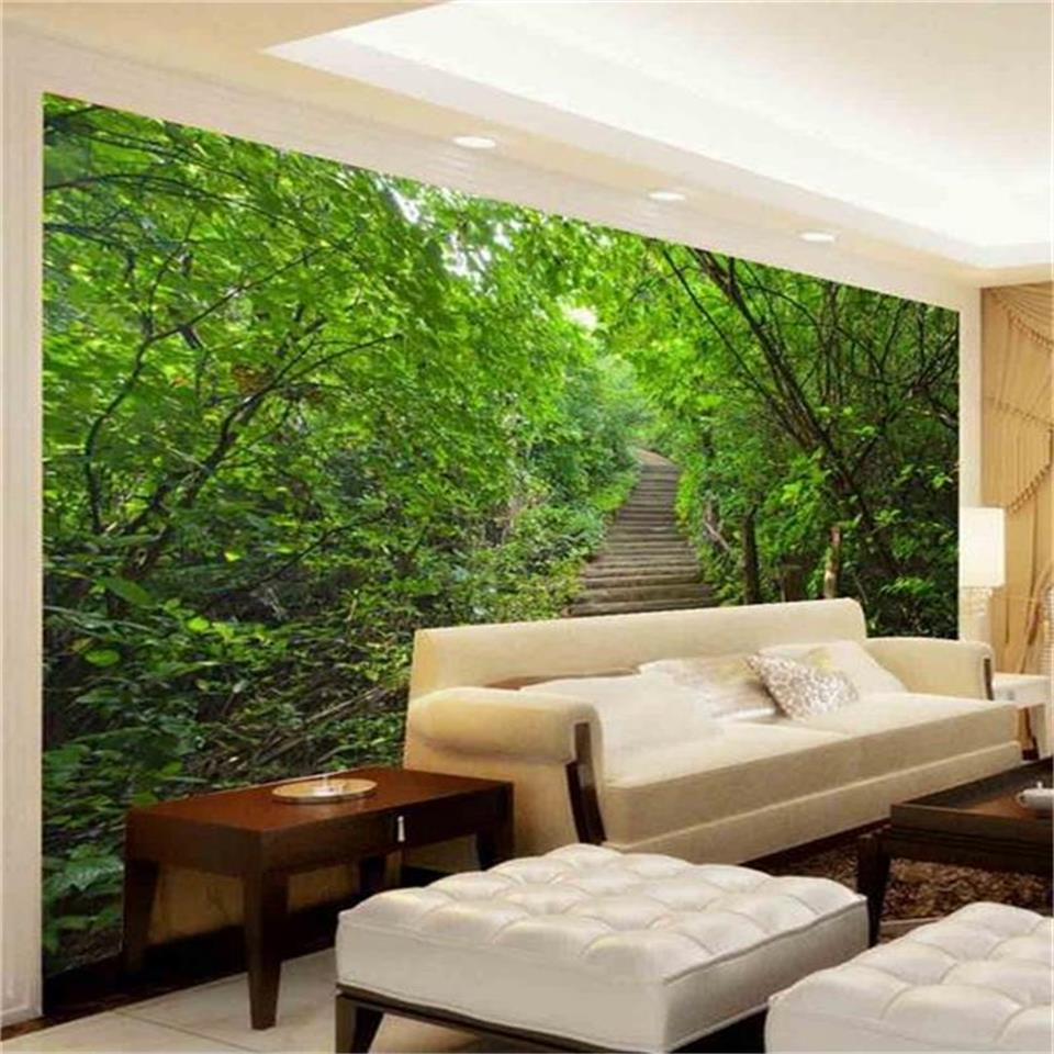 3d wallpaper photo wallpaper custom mural living room tree forest landscape steps 3d painting sofa TV background wall sticker custom photo wall paper 3d romantic cherry tree tv background home wallpaper decor living room sofa wall mural wallpaper murales