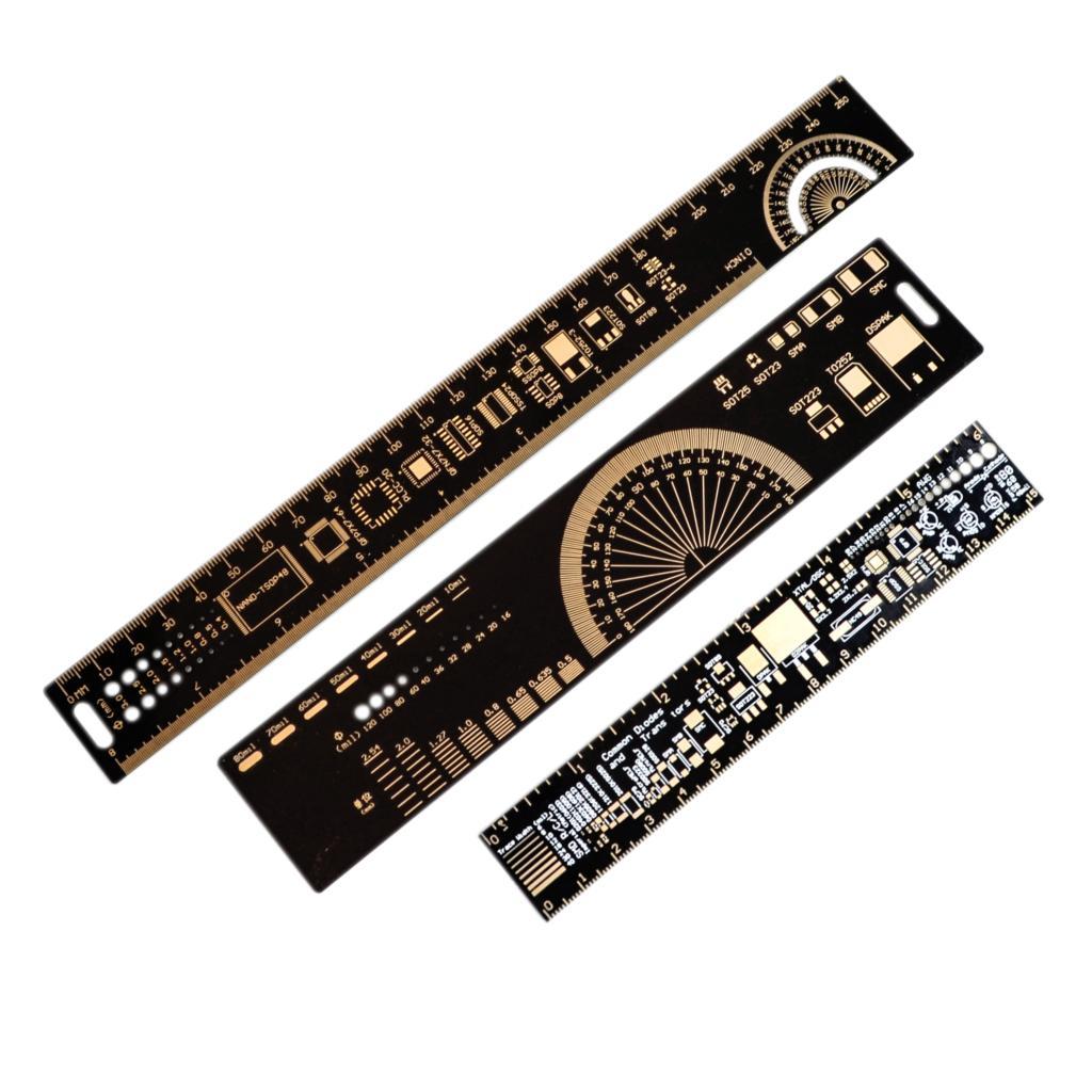 1 комплект, многофункциональная линейка PCB 15 см 20 см 25 см, измерительный инструмент, резистор, микросхема конденсатора IC SMD, диодный транзистор, посылка на 180 градусов