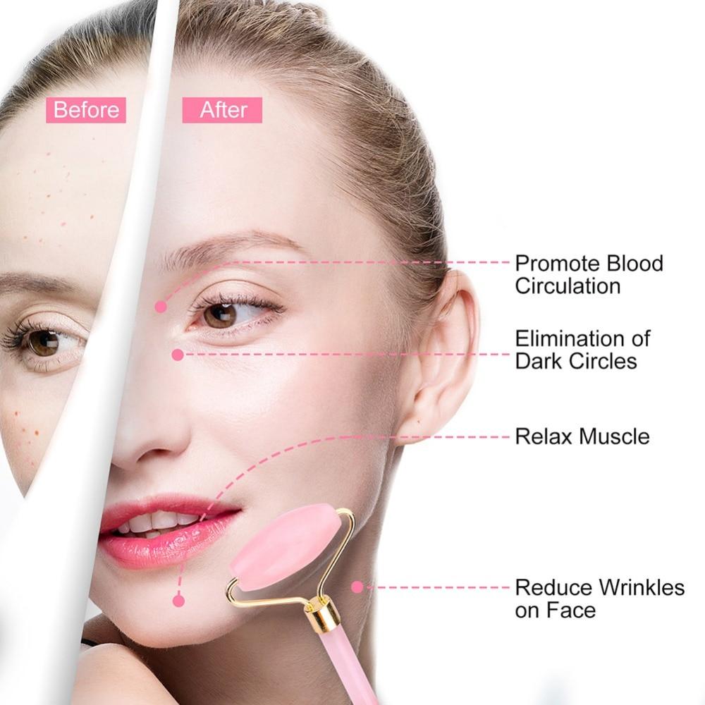Rose Quartz Roller Slimming Face Massager Lifting Tool 4
